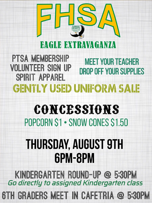 Eagle Extravaganza will be Thursday, 6-8 pm. Meet your teachers, drop off supplies, get your spirit wear and gently used uniforms and join the PTSA!