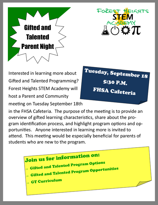 This meeting is open to all grade levels and anyone interested in learning more about our Gifted and Talented program