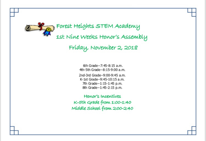 Assembly is rescheduled for Friday, November 2, 2018!