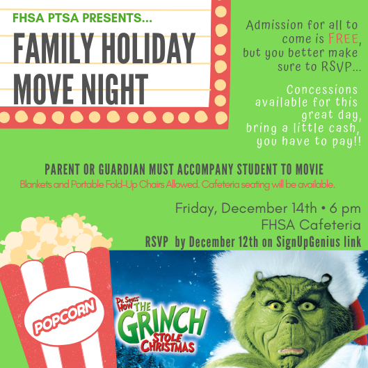 Family Movie Night will be Friday, Dec. 14!