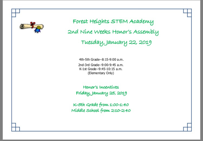 Reminder...2nd Nine Weeks Honor's Assembly for elementary students only!