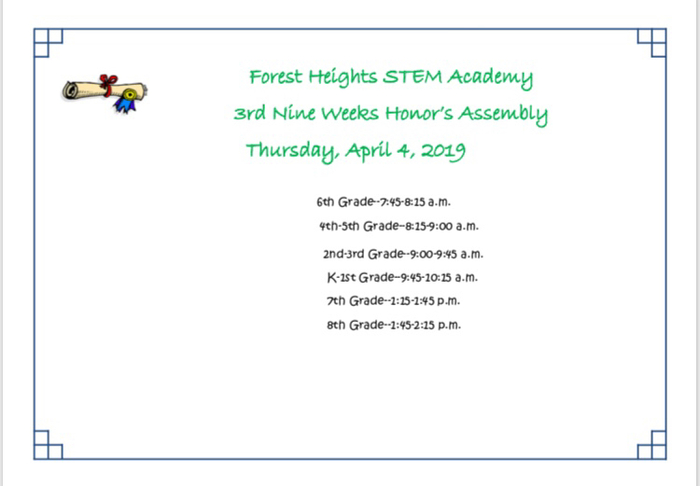 3rd Nine Weeks Honor's Assembly for K-8th