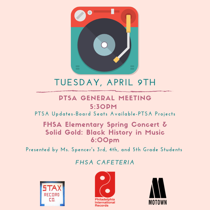 There will be a General PTSA meeting at 5:30 on Tuesday, April 9.