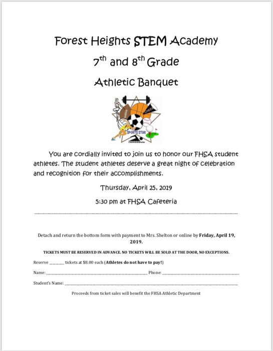 Don't forget to purchase your tickets for the athletic banquet!