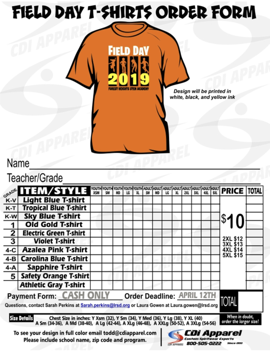 Elementary T-Shirt order form