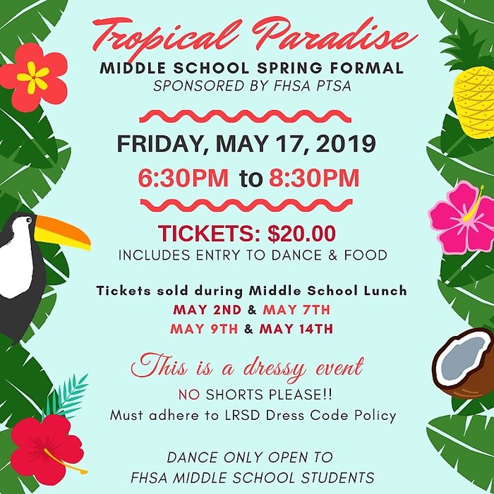 Spring Formal will be May 17.