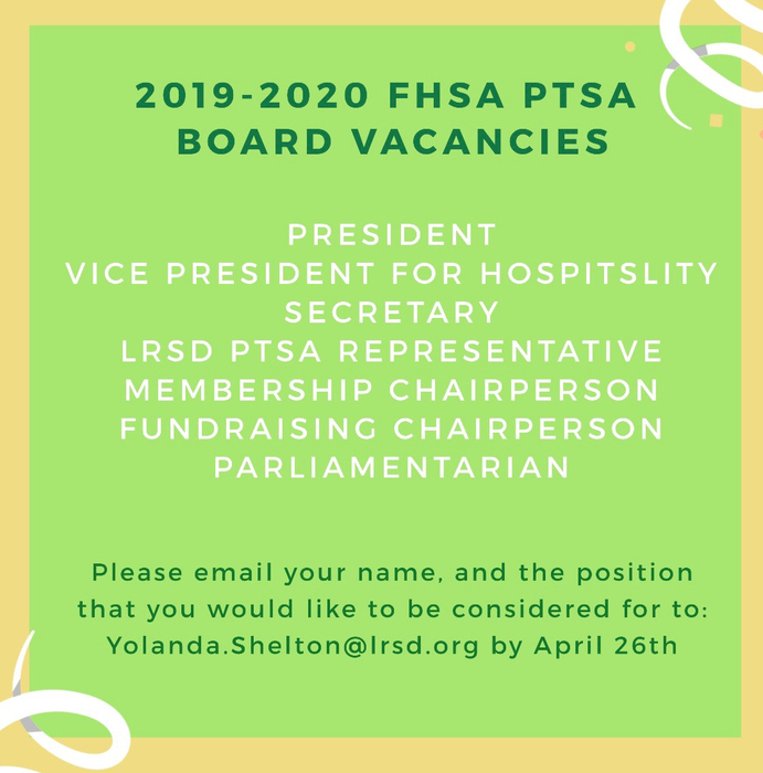PTSA board elections are coming up!
