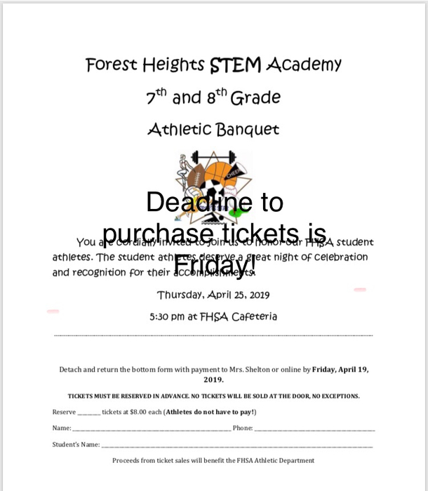 Deadline this Friday for athletic tickets!