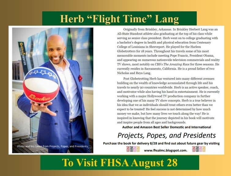 "Author and Retired Globetrotter, Herbert ""Flight Time"" Lang To Visit FHSA"
